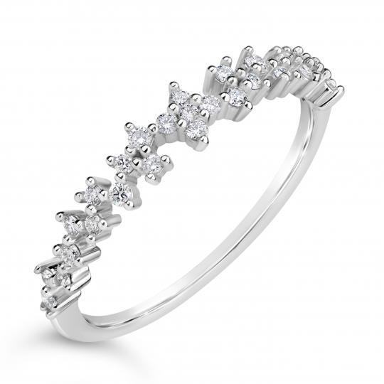 Zlatý dámský prsten DF 4447 z bílého zlata, s briliantem