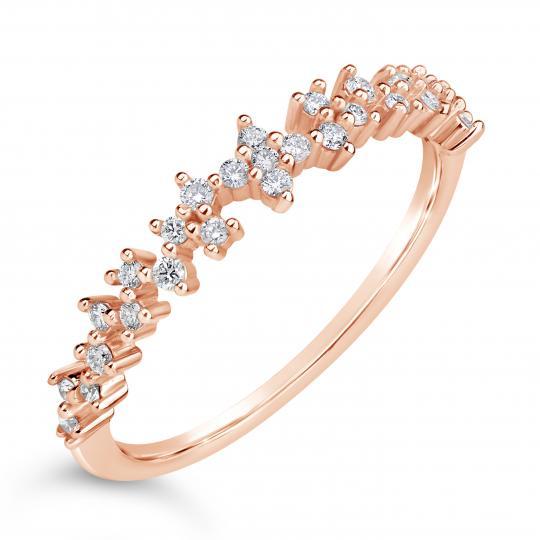 Zlatý dámský prsten DF 4447 z růžového zlata, s briliantem