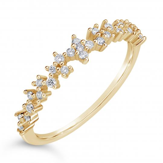 Zlatý dámský prsten DF 4447 ze žlutého zlata, s briliantem