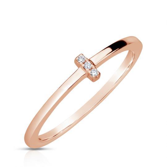 Zlatý dámský prsten DF 4448 z růžového zlata, s brilianty