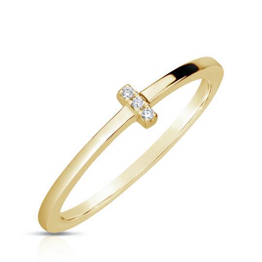 Zlatý dámský prsten DF 4448 ze žlutého zlata, s brilianty