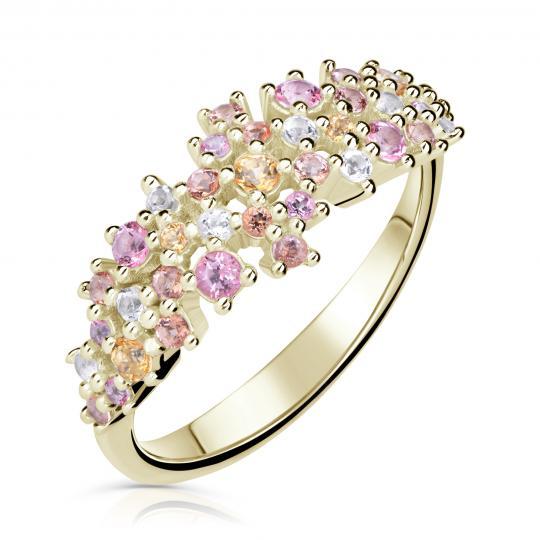 Zlatý dámský prsten DF 5030 ze žlutého zlata, barevné kameny