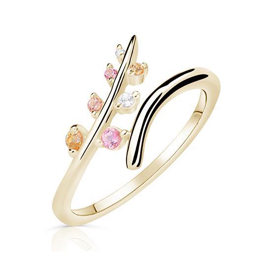 Zlatý dámský prsten DF 5061 ze žlutého zlata, barevné kameny