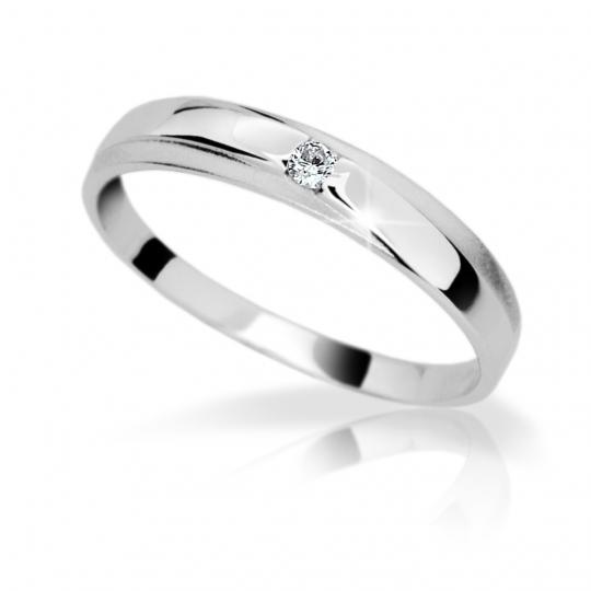 Zlatý diamantový prsteň DF 1617 z bieleho zlata