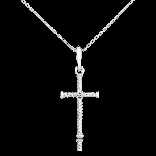 Zlatý krížik s diamantom DF 4197, biele zlato