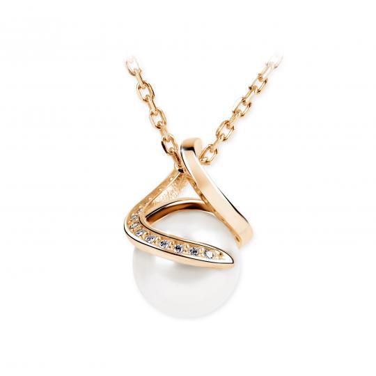 Zlatý perlový prívesok DF 3154, ružové zlato, sladkovodné, brilianty