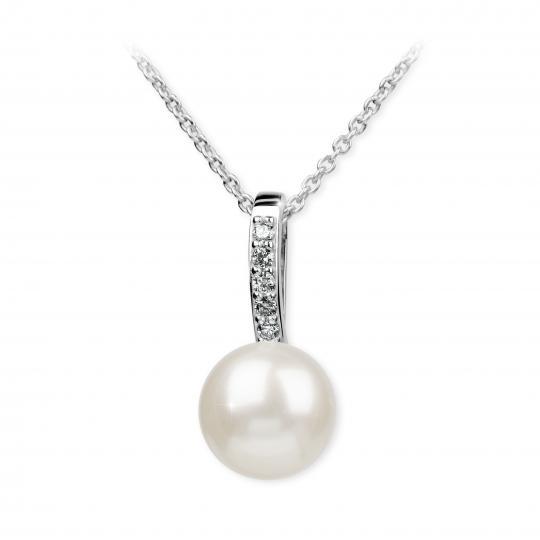 Zlatý perlový prívesok DF 3166, biele zlato, sladkovodné, brilianty