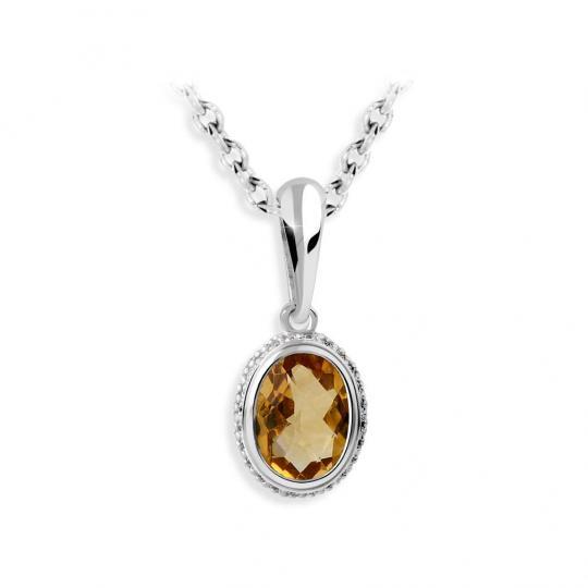 Zlatý přívěsek DF 3372, bílé zlato, citrín s diamanty
