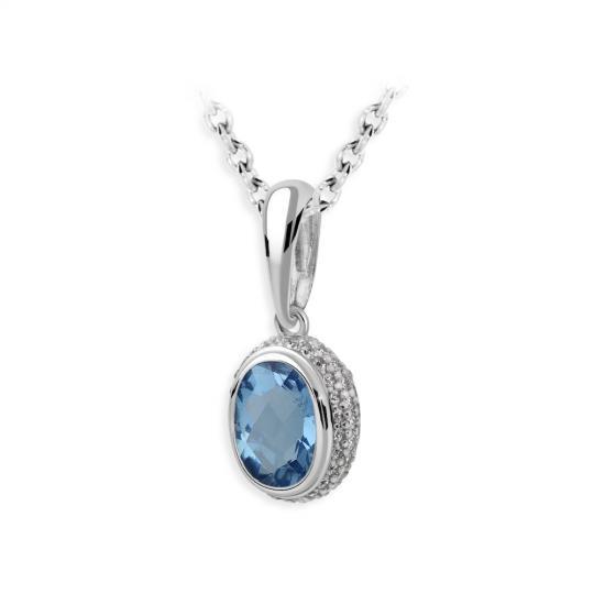 Zlatý přívěsek DF 3372, bílé zlato, modrý topaz s diamanty