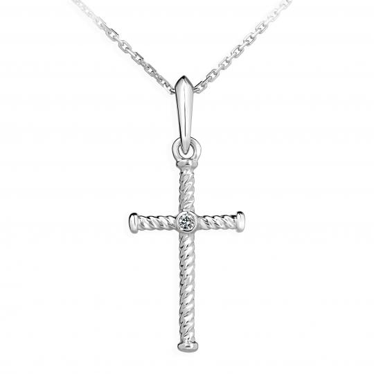 Zlatý přívěsek křížek DF 4197, bílé zlato, s briliantem