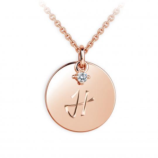 Zlatý přívěsek placička DF P120 písmeno H, růžové zlato, s briliantem