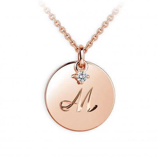 Zlatý přívěsek placička DF P120 písmeno M, růžové zlato, s briliantem