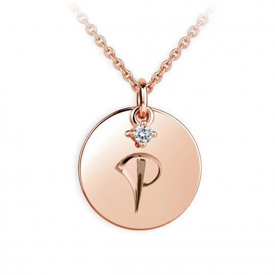 Zlatý přívěsek placička DF P120 písmeno P, růžové zlato, s briliantem