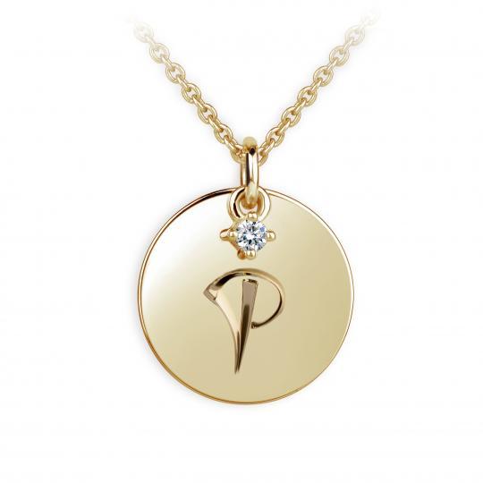 Zlatý přívěsek placička DF P120 písmeno P, žluté zlato, s briliantem