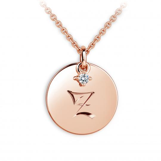 Zlatý přívěsek placička DF P120 písmeno Z, růžové zlato, s briliantem