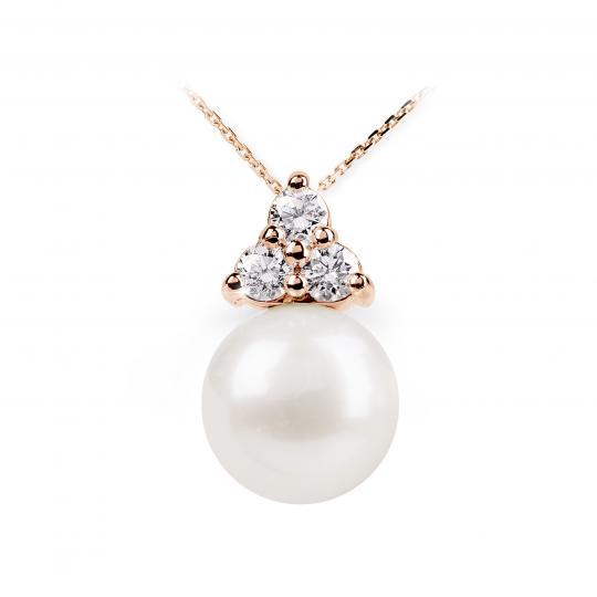 Zlatý přívěsek s perlou DF 2666, růžové zlato, sladkovodní