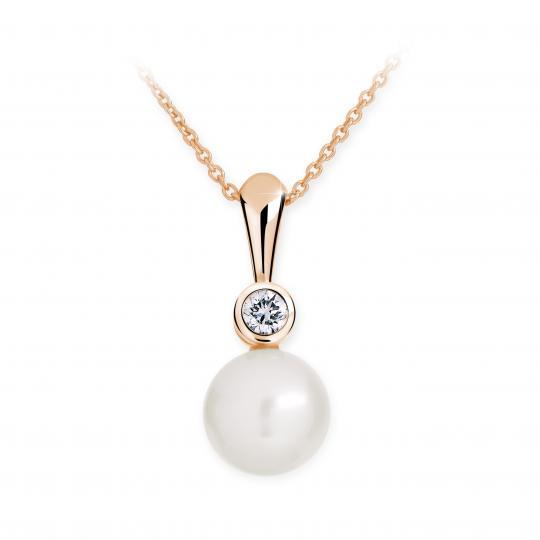 Zlatý přívěsek s perlou DF 2668, růžové zlato, sladkovodní