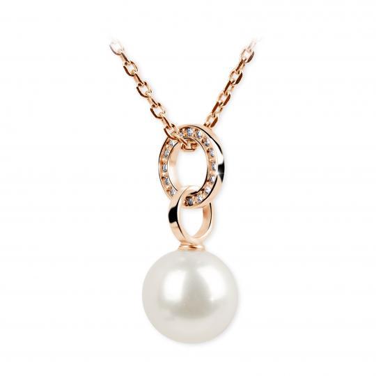 Zlatý přívěsek s perlou DF 3155, růžové zlato, sladkovodní