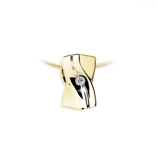 Zlatý prívesok Danfil DF1751, žlté zlato s briliantom