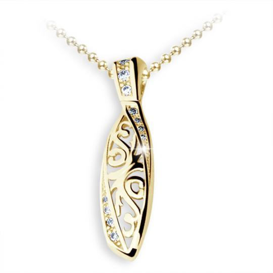 Zlatý prívesok Danfil DF2148, žlté zlato s briliantom