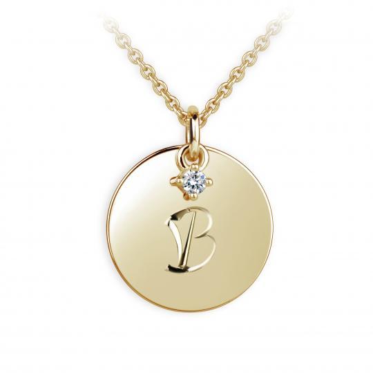 Zlatý prívesok placky DF P120 písmeno B, žlté zlato, s briliantom