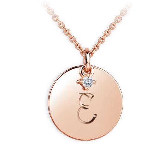 Zlatý prívesok placky DF P120 písmeno E, ružové zlato, s briliantom