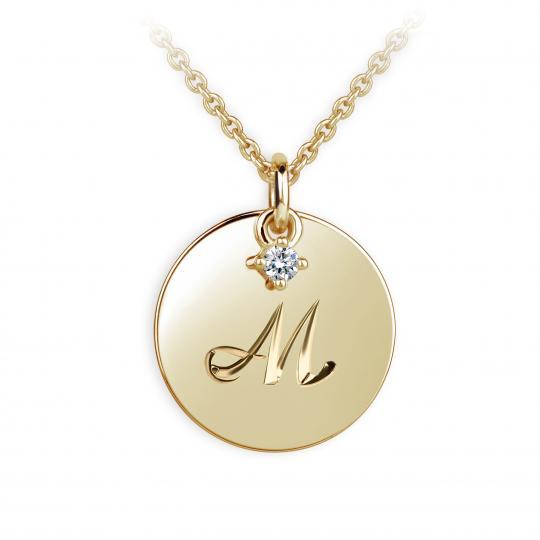 Zlatý prívesok placky DF P120 písmeno M, žlté zlato, s briliantom