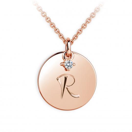 Zlatý prívesok placky DF P120 písmeno R, ružové zlato, s briliantom