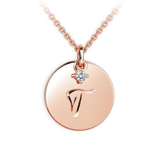 Zlatý prívesok placky DF P120 písmeno T, ružové zlato, s briliantom
