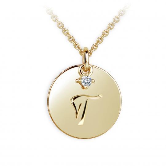 Zlatý prívesok placky DF P120 písmeno T, žlté zlato, s briliantom