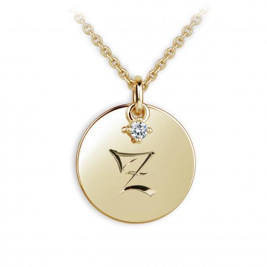 Zlatý prívesok placky DF P120 písmeno Z, žlté zlato, s briliantom