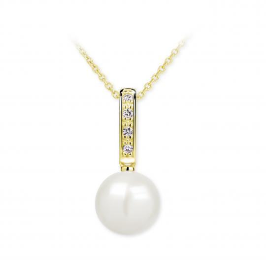 Zlatý prívesok s perlou DF 2660, žlté zlato, sladkovodné