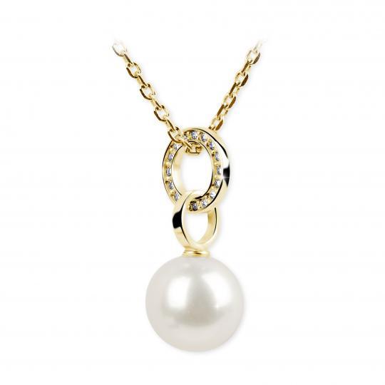Zlatý prívesok s perlou DF 3155, žlté zlato, sladkovodné