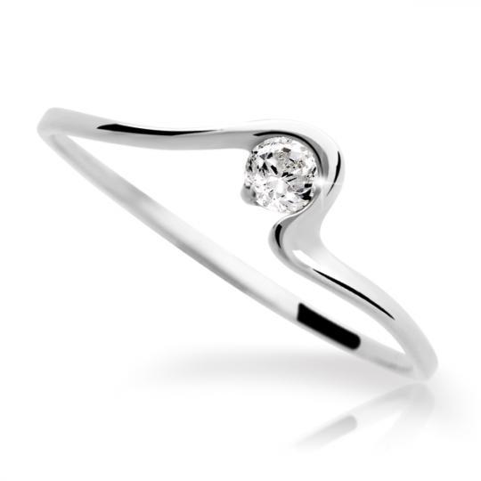 Zlatý prsteň Danfil DF1082 z bieleho zlata s briliantom