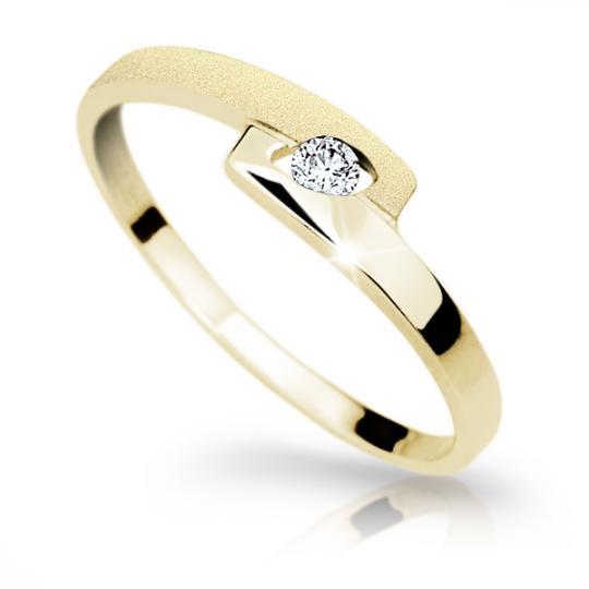 Zlatý prsteň Danfil DF1284 zo žltého zlata s briliantom