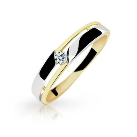 Zlatý prsteň Danfil DF1660 zo žltého zlata s briliantom