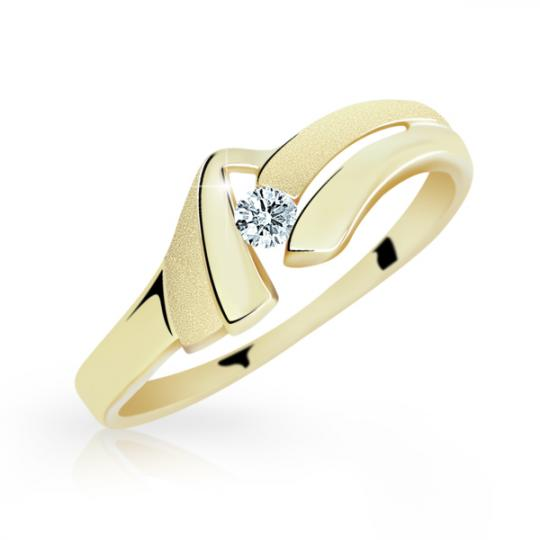 Zlatý prsteň Danfil DF1835 zo žltého zlata s briliantom