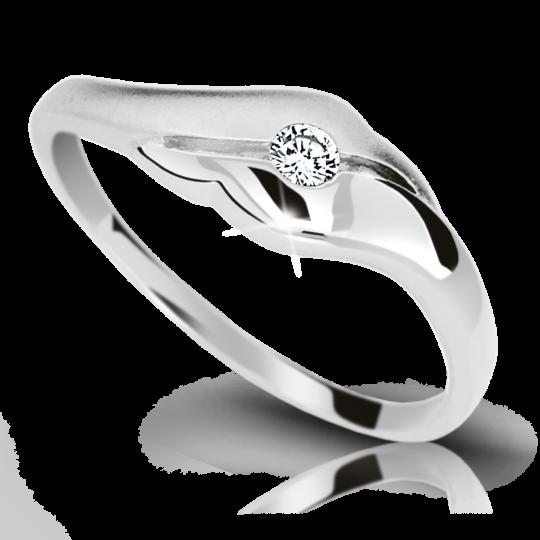 Zlatý prsteň Danfil DF1838 z bieleho zlata s briliantom