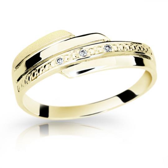 Zlatý prsteň Danfil DF1844 zo žltého zlata s briliantom