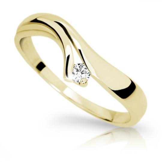 Zlatý prsteň Danfil DF1853 zo žltého zlata s briliantom