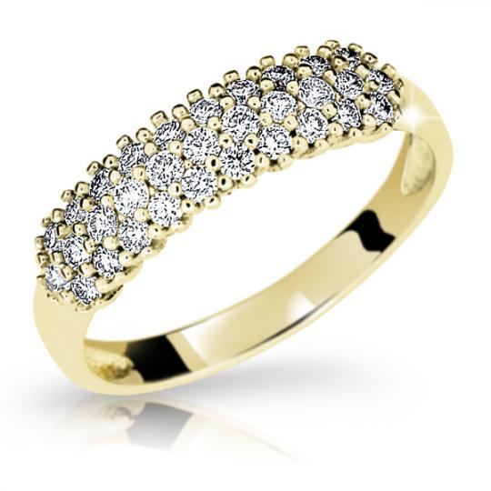 Zlatý prsteň Danfil DF1973 zo žltého zlata s briliantom