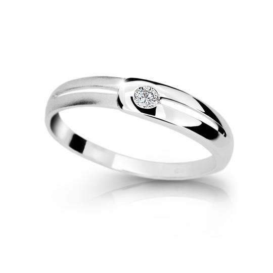 Zlatý prsten DF 1049 z bílého zlata, s briliantem