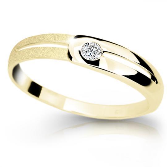 Zlatý prsten DF 1049 ze žlutého zlata, s briliantem
