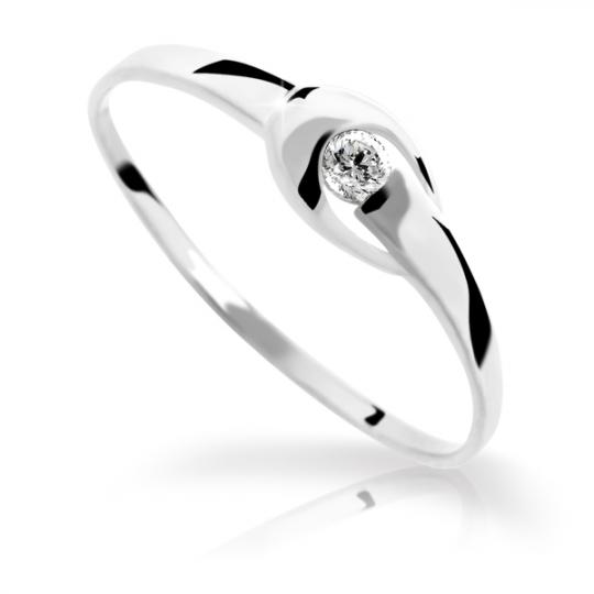 Zlatý prsten DF 1063 z bílého zlata, s briliantem
