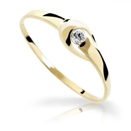 Zlatý prsteň DF 1063 zo žltého zlata, s briliantom