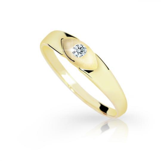 Zlatý prsten DF 1065 ze žlutého zlata, s briliantem
