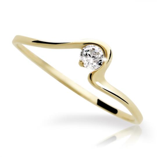 Zlatý prsten DF 1082 ze žlutého zlata, s briliantem
