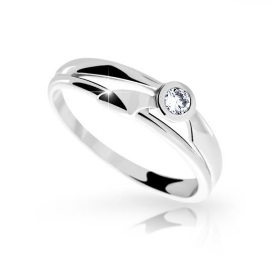 Zlatý prsteň DF 1110 z bieleho zlata, s briliantom