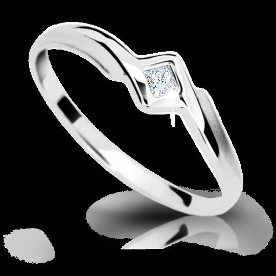 Zlatý prsten DF 1113 z bílého zlata, s briliantem