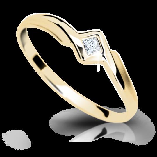 Zlatý prsten DF 1113 ze žlutého zlata, s briliantem
